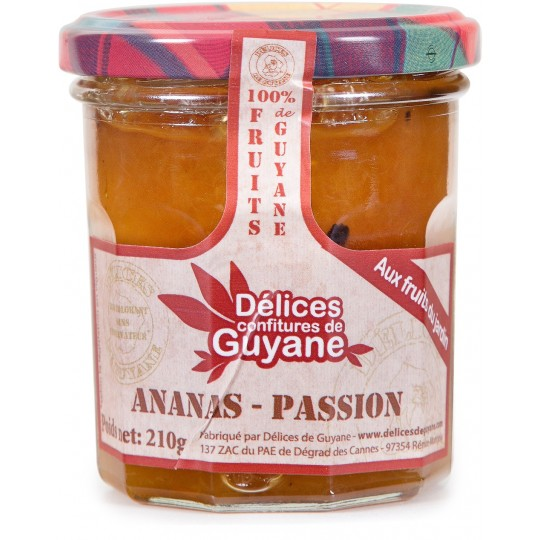 DELICES DE GUYANE - Ananas-Passion, confiture 210g - Guyane